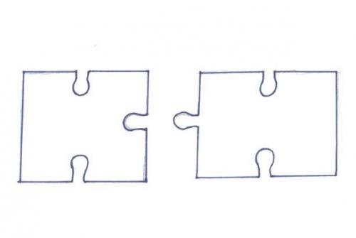 Összeillő puzzle medál pár - skicc