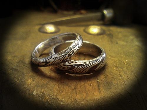 Mokume Gane karikagyűrű ezüst-réz kombinációban 1.
