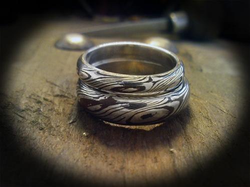 Mokume Gane karikagyűrű ezüst-réz kombinációban 2.