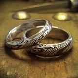 Mokume Gane karikagyűrű ezüst-réz kombinációban